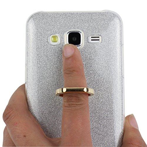 Funda Samsung Galaxy J5 2015, Samsung J5 Caso, Rosa Schleife Liquid Crystal Cubierta suave de TPU + Papel brillo Hybrid 2 in 1 Bling Funda Ultra Slim Premium Silicona Carcasa Funda para Samsung Galaxy A - Plata