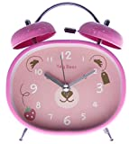 JustNile Cute Kids Bedside Classic Super Loud Twin Bell Alarm Clock with Back Light Designed for Heavy Deep Sleeper - 4'' Tag Bear/Pink