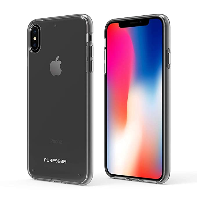 """4e1c51911d PureGear Slim Shell Phone Case for iPhone Xs MAX 6.5"""", Clear with Clear  Borders"""