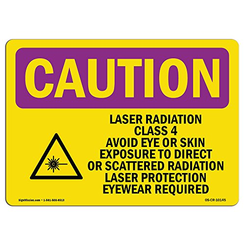 OSHA Caution Radiation Sign - Laser Radiation Class 4 Avoid with Symbol | Vinyl Label Decal | Protect Your Business, Work Site, Warehouse | Made in The USA