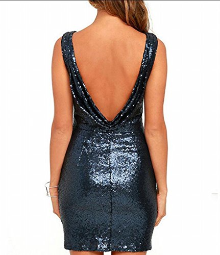 Back Sexy Sleeveless Stretchy Open Dress Blue Women Sequin Party Mini Bodycon Domple wXI4Fqx