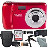 Vivitar ViviCam XX14 Digital Camera (Red) and Accessory Bundle W/ 16GB + Card Reader + Case + Xpix Tripod + Fiberitque Cleaning Cloth + Batteries + Memory Card Wallet
