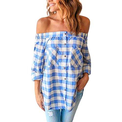 Lisingtool Women's Long Sleeve Off Shoulder Blouse Shirt Tops (XL, Blue)