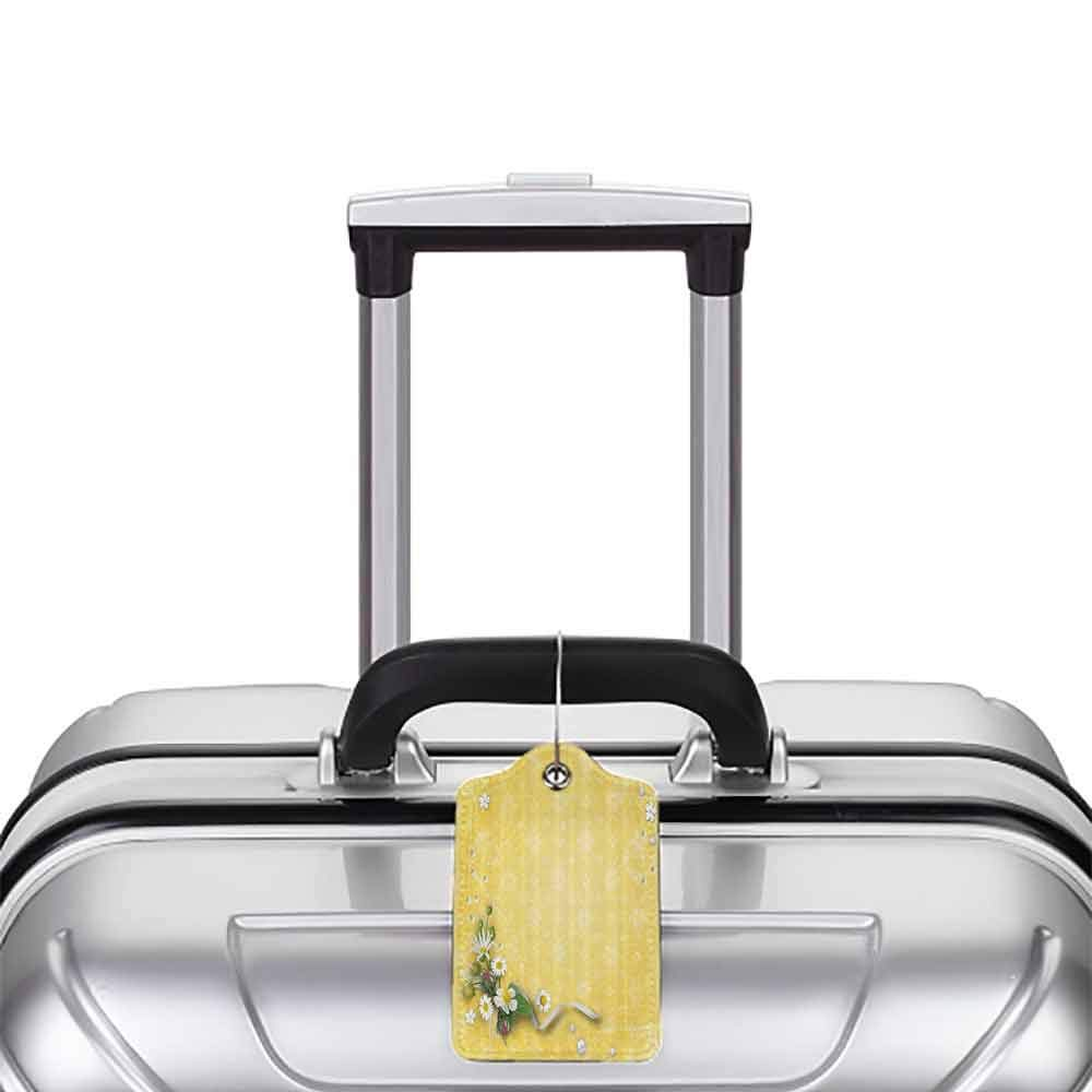 Waterproof luggage tag Yellow Decor Vintage Country Look Romantic Pattern with Bouquet and Erased Flowers Soft to the touch Yellow and White W2.7 x L4.6