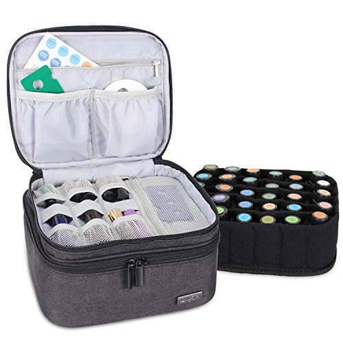 LUXJA Essential Oil Carrying Case - Holds 30 Bottles (5ml-30ml, Also Fits for Roller Bottles), Double-Layer Organizer for Essential Oil and Accessories, Black