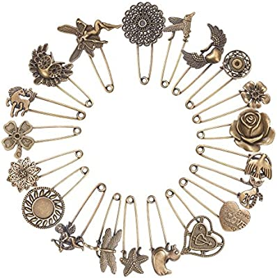 10PCS Fashion Jewelry Bronze Brooch Pin Connector Kilt Scarf Strong Safety