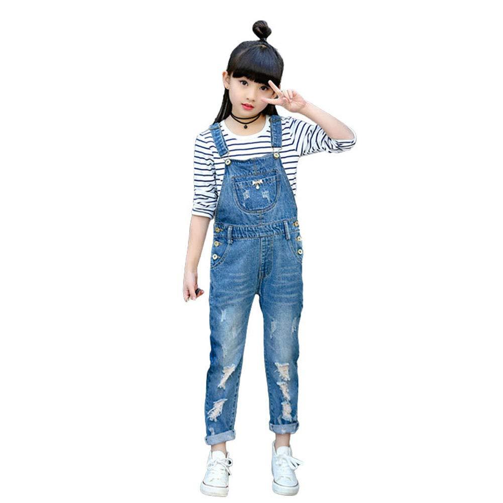 Digirlsor Kids Blue Bib Pants Little Big Girls Distressed Denim Overalls Ripped Jeans Romper Jumpsuit,3-12Y DC117