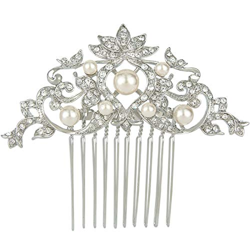 (EVER FAITH Silver-Tone Austrian Crystal Cream Simulated Pearl Lotus Flower Leaf Hair Comb Clear)