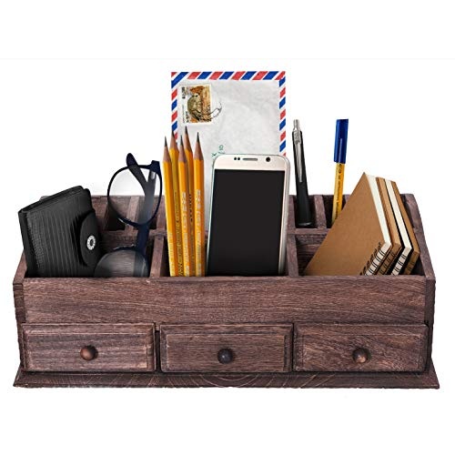(Rustic Wooden Desk Organizer for Home or Office - Mail Rack for Desktop, Tabletop, or Counter - Desk Supplies Organizer with 3 Drawers and 6 Compartments - Torched Wood Workspace Organizer)