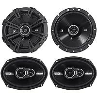 Package: Pair of Kicker 43DSC6704 DSC670 240 Watt 6.75 2-Way Car Audio Speakers 4-Ohm + Pair of Kicker 43DSC69304 6x9 360 Watt 3-Way Speakers With 4-Ohm Impedance