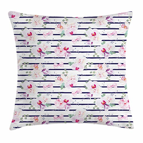 Navy and Blush Throw Pillow Cushion Cover by Ambesonne, Spring Bouquets on Stripes Orchid Peony Bell Flowers Feminine, Decorative Square Accent Pillow Case, 20 X 20 Inches, Indigo Pink Reseda Green