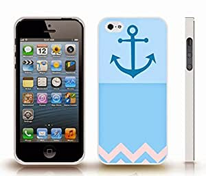 iStar Cases? iPhone 5/5S Case with Chevron Pattern Light Blue/ Royal Blue Stripe Royal Anchor , Snap-on Cover, Hard Carrying Case (White)