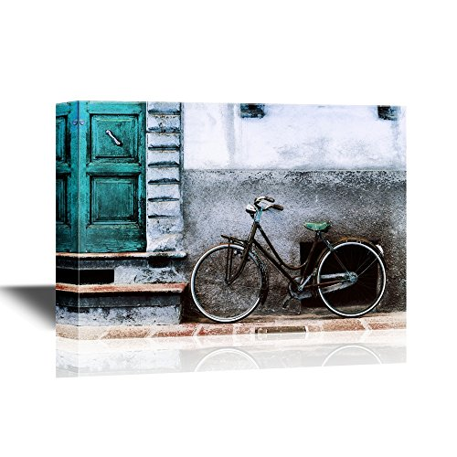 Doors Vintage Bicycle Against the Wall in Front of the Door to the House Italy Toscana Gallery