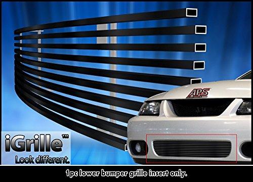 Black Stainless Steel eGrille Billet Grille Grill For 2003-2004 Ford Mustang SVT Cobra Bumper (2003 Ford Svt Mustang)