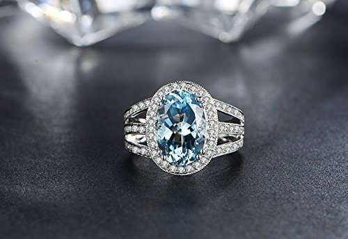 Solid 18K white promise ring,0.35ct SI-H Diamond Engagement ring,Oval 3.16ct Natural VVS blue Aquamarine,prong set