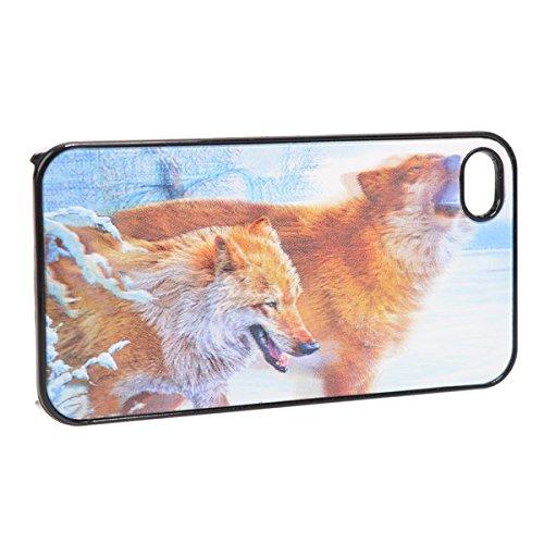 Case Cover Defender Pattern 3D Snow Wolf pour l'iPhone 4 4S
