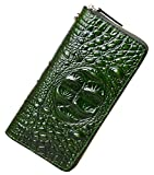 PIJUSHI Women's Embossed Crocodile Genuine Leather Wallet Clutch Purse (1058 Green Croco)