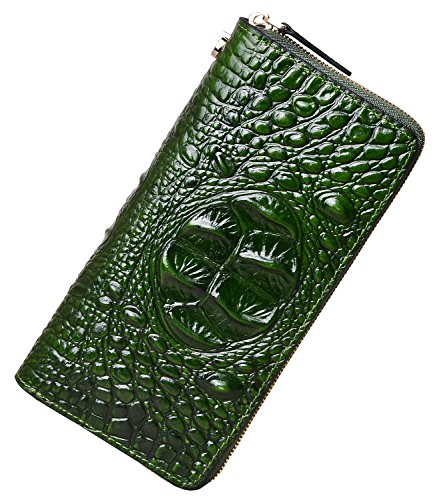 PIJUSHI Women's Embossed Crocodile Genuine Leather Wallet Clutch Purse (1058 Green Croco) Croco Embossed Clutch