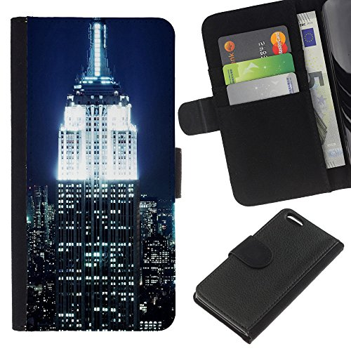 Graphic4You New York NYC Empire State Building Postcard Design Thin Wallet Card Holder Leather Case Cover for Apple iPhone 5C