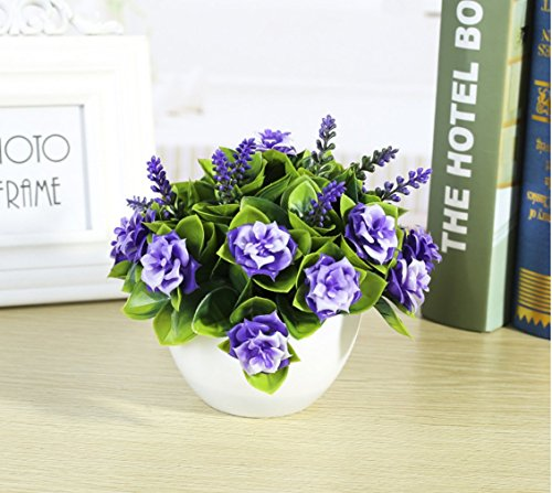 C&L Simulation flower pots simulation plant bonsai interior decoration green plant ornaments (Purple)