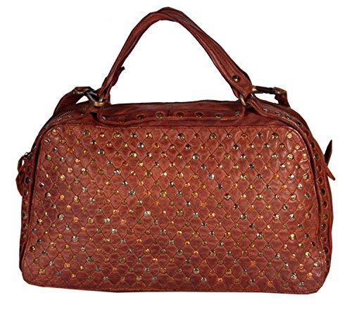 Savona-Quilted Leather Bowling Bag With Rivets used-look Pouch Mediterranean Urban Bag Women Handbag Shoulder Bags Handbag 41x23x17cm (B x H x T)