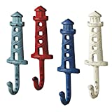 Lighthouses - Antique Style Weathered Wall Hooks Set of 4 - Aqua, Red, Blue, White