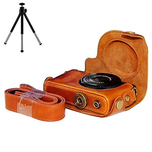 First2savvv XJPT-S120-09 brown full body Precise Fit PU leather digital camera case bag cover with shoulder strap for Canon PowerShot S100 S110 S120 S200 + mini - S200 Leather