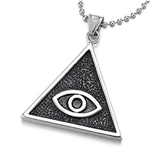 COOLSTEELANDBEYOND Mens Womens Steel Evil Eye Pattern Triangle Medal Pendant Necklace with Black Enamel, 30 in Chain