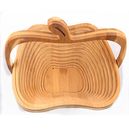 Bamboo Tea Tray - Novelty Foldable Apple Shaped Bamboo Basket Fruit - Mold Shape Fruit Bags Cubes Kids Stick Barrettes Edibles Bean Teething Toys Mung Favors Bowls Glass Cutters Beans Large Sham