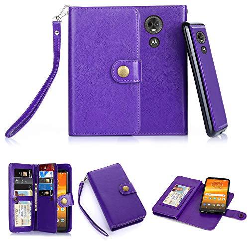 Moto E5 Plus Case, Moto E5 Supra Case, 10 Card Slot - ID Slot, Button Phone Wallet Cover Folio PU Leather Case Cover with Detachable Magnetic Hard Case - Purple