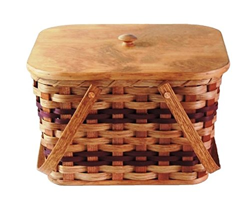 Amish Handmade Small Picnic Basket w/Swinging Handles in Wine