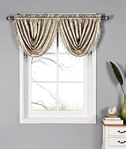 Dawson Shimmering Leaf 44 x 19 in. Waterfall Window Valance, Taupe