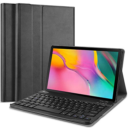 ProCase Galaxy Tab A 10.1 2019 Keyboard Case T510 T515, Slim Shell Lightweight Cover with Magnetically Detachable Wireless Keyboard for Galaxy Tab A 10.1 Inch SM-T510 SM-T515 2019 -Black