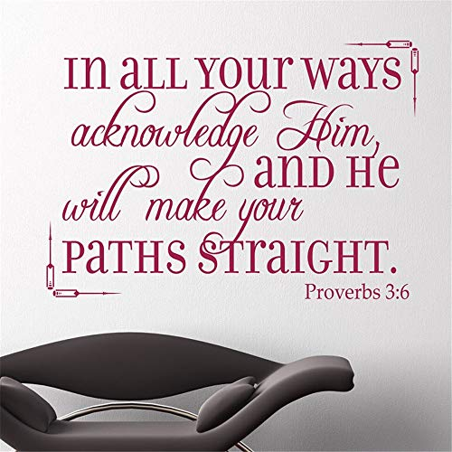 Lettering Words Wall Mural DIY Removable Sticker Decoration in All Your Ways acknowledge him and he Will Make Your Paths Straight Bible Verse Christian]()