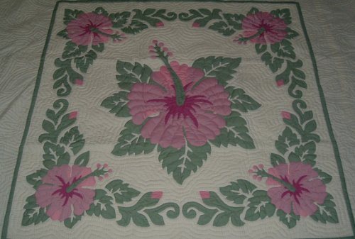 - Hawaiian quilt lap blanket / wall hanging 100% hand quilted/hand appliqued 60x60