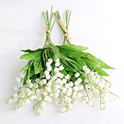 Htmeing Artificial Lily of The Valley Flowers Bush for Home Garden Wedding Decoration (12pcs)