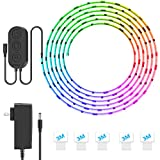 MINGER DreamColor LED Strip Lights, Smart Music Sync Light Strip Phone App Controlled Waterproof for Room, Bedroom, TV, Gaming, Party with Brighter 5050 LEDs and Strong Adhesive Tape (16.4Ft)