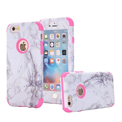 iPhone 6/6S Case, Asstar 3 In 1 Marble Creative Design Slim Flexible Soft Silicone Hard PC Shockproof Anti-Scratch Glossy Protective Cover Case for Apple iPhone 6/6s 4.7 inch (Rose)