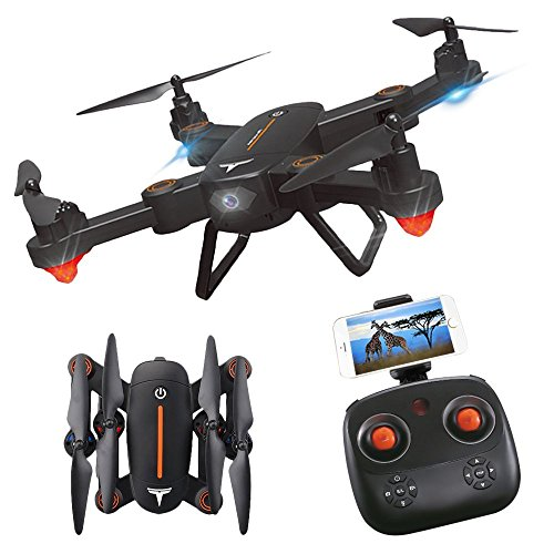 RC Quadcopter, ASGO F16 Foldable Remote Control WiFi Drone with 2MP HD Camera and Two Rechargeable Batteries -