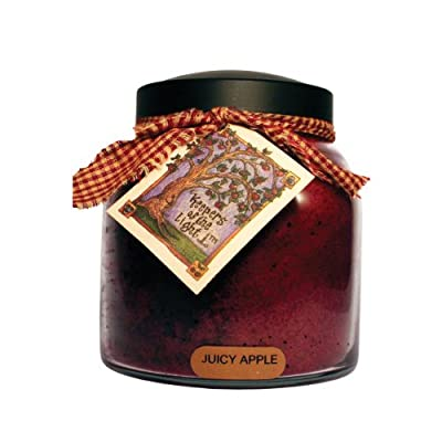 A Cheerful Giver Juicy Apple 34 oz. Papa Jar Candle, 34oz - Juicy Apple fragrance consists of bright cherry apples, cinnamon and clove Made with a non-leaded wick that burns about 155 hours Jar candle is 34 ounces; topped with a black lid and a homespun ribbon. - living-room-decor, living-room, candles - 511K2FbUDaL. SS400  -