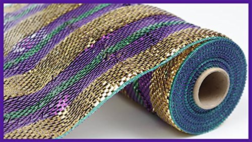 Deluxe Mardi Gras 10 Inch Wide Poly Deco Plastic Mesh Stripe 10 Yards RE1349NA Purple Gold -