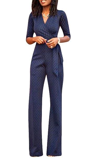 ZhuiKun Mujeres 3/4 Mangas Monos Elegante Traje Profesional Pantalones Anchos Blusa V Cuello Bodysuit Jumpsuits: Amazon.es: Ropa y accesorios