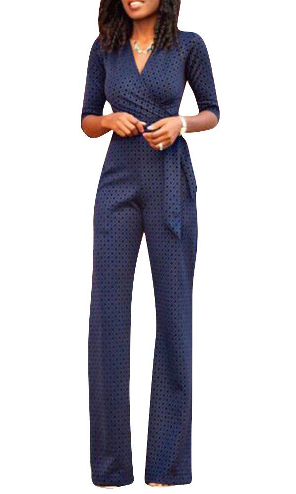 Mujeres 3/4 Mangas Monos Elegante Traje Profesional Pantalones Anchos Blusa V Cuello Bodysuit Jumpsuits
