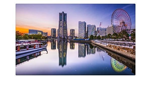 Japón rascacielos ciudades ríos casas noria Yokohama Travel sitios postal Post tarjeta: Amazon.es: Oficina y papelería