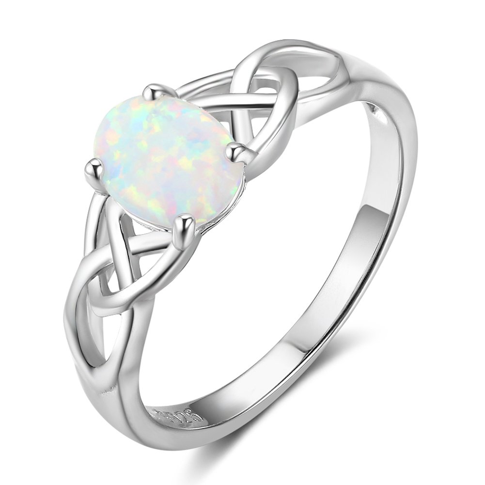 Furious Jewelry 925 Sterling Silver Oval Created Opal Trinity Celtic Knot Band Ring, Size 6 7 8 (6)