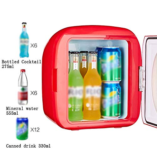 (9L Mini Portable Personal Fridge Car Refrigerator Mute Low Noise Office Home Electric Cooler and Warmer for Traveling and Camping,Red)