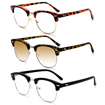 94da6e43b6 REAVEE Vintage Half Frame Reading Glasses Horn Rimmed Includes Sun Readers  Outdoor Reading Glasses Brown Lens