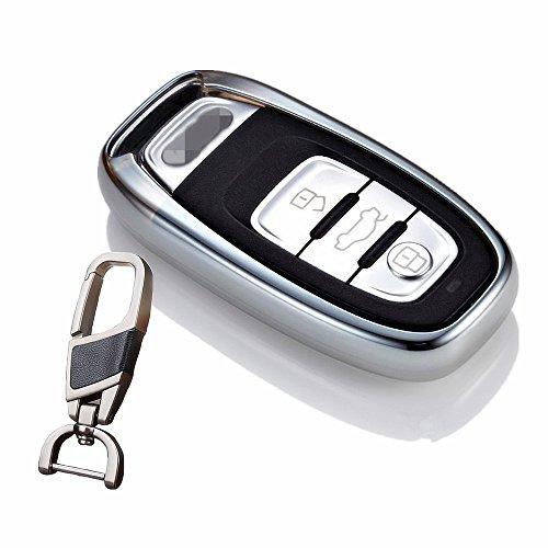 Soft TPU Smart case Cover for Audi Key Chain fit A4 A6 TT Q3 Q5 Car Styling Holder Bag (Silver)