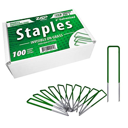 Zap Supplies Garden Landscape Staples Stakes Pins 100 6-Inch Heavy-Duty U-Shaped Lawn Drippers, Weed Barrier Fabric, Ground Cover, Soaker Hose, Irrigation Tubing
