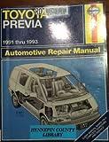 Toyota Previa 1991-1993: Automotive Repair Manual